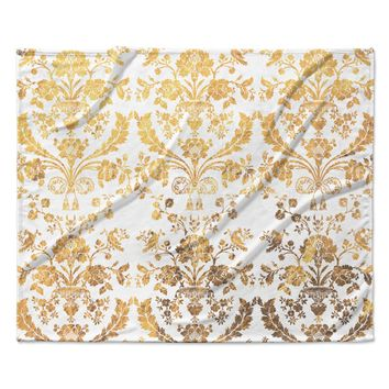 "KESS Original ""Baroque Gold"" Abstract Floral Fleece Throw Blanket"