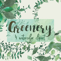 Greenery | green clipart, digital watercolor, watercolor leaves, diy, botanical, clipart, leafy wreath, leaf border, greenery clipart, PNG