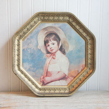 Vintage French Country Potrait on Tray, Little Girl in Bonnet on Metal Tray,  Cookie Tin, French Country Home Decor, Gold, Blue, pink