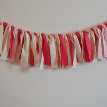 Birthday banner light pink, dark pink and light yellow birthday party decor photo prop cake smash banner 4 feet long