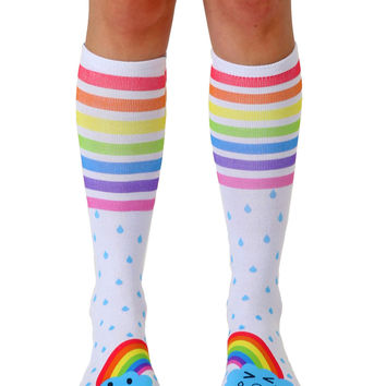 Steph Stone Rainbow Clouds Knee High Socks