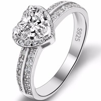 BELLA Fashion 925 Sterling Silver Heart Bridal Ring Clear Cubic Zircon Wedding Ring For Party Jewelry Thanksgiving Day Gift