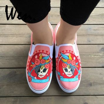 Wen Mexican Style Skulls Totem Hand Painted Shoes Original Design Slip On Low Sneakers Sport Gym Trainers Skateboard Plimsolls