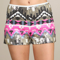 Printed Sequined Short