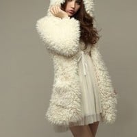Cute Pure White Woolen Girls Coats Hot Sale : Wholesaleclothing4u.com