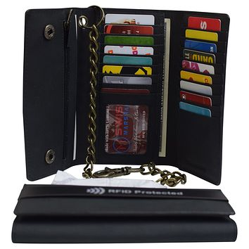 Men's RFID Signal Blocking Biker's Vintage Black Leather Long Tri-fold Chain Checkbook Card ID Wallet