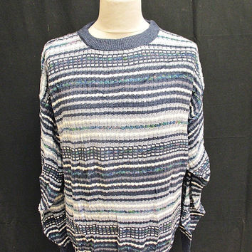 Vintage 80s Jantzen Blue Stripy Pattern Indie Sweater Jumper L