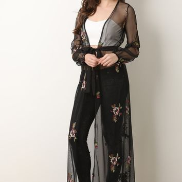 Floral Embroidered Mesh Duster Cardigan