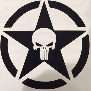 Jeep Wrangler PUNISHER ARMY STAR STICKER FUNNY BUMPER STICKER CAR VAN 4X4 WINDOW