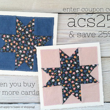 Handmade calico star card stitched to fine cardstock -blank card with envelope- vintage floral fabric {pink, black, white, blue, green} 5x5