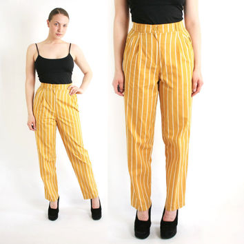 Vintage 80's Yellow & White Striped High Waist Pants - Small to Medium