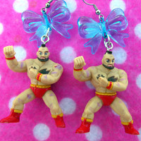 Street Fighter Zangief Wrestler Earrings