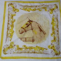 14-1018 Vintage 1950s Equestrian Horse Scarf / Yellow Scarf / Horses / Head Scarf / Made in Japan