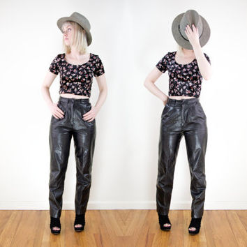 vintage black leather pants / high waisted leather skinny pants / high waist leather trousers / 80s leather biker motorcycle pants
