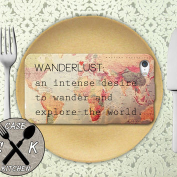 Wanderlust Definition Meaning Travel World Map Cute Retro Custom Rubber Tough Phone Case For The iPhone 4 and 4s and iPhone 5 and 5s and 5c