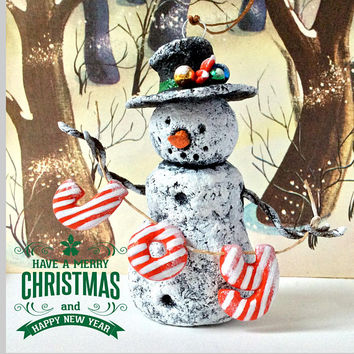 Snowman Paper mache figurine Ornaments Christmas trees Home decor New year Chinese New Year