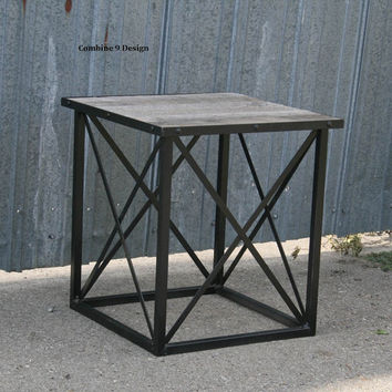 Reclaimed Wood End Table. Industrial Side Table. Steel. Made to order. Custom options available. Vintage Industrial. Mid Century. Modern.