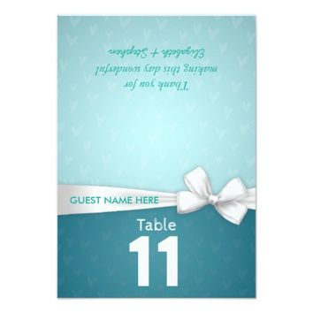 White Ribbon Wedding Seating Place Table Number Card