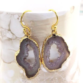 H2197 Halloween Sale Natural Gray Geode Slice Druzy Gold Plated Earring Jewelry