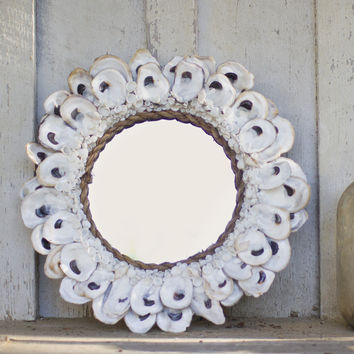 """Round Oyster Shell Mirror 14""""Dx13.5""""Thick"""