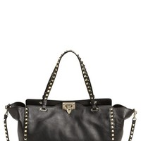 Valentino 'Medium Rockstud' Double Handle Leather Tote