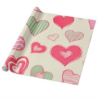 Abstract Crazy Hearts Doodles Wrapping Paper
