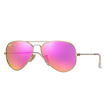 Rayban Aviators RB3025 Flash Pink Mirror Gold