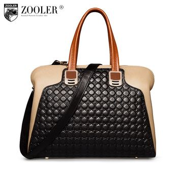 ZOOLER Women Genuine Leather bag Handbags OL Style Shoulder bag for women Large Tote luxury leather messenger crossbody bags2586