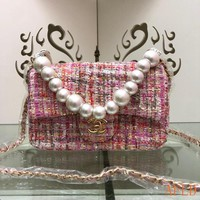 HCXX 19Aug 696 Fashion Chain Pearl Flap Bag Sequin Baguette Bag 14-20-6cm
