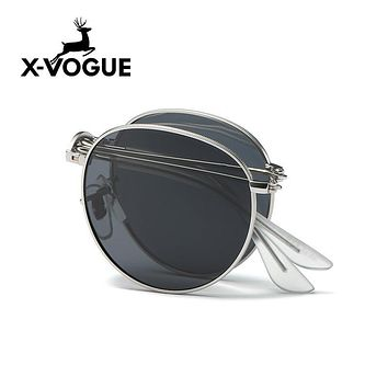 X-VOGUE Brand New Men Folded Sunglasses Women Polarized Sun Glasses UV400 Retro Eyewear Oval Classic Metal Frame Gafas Oculos
