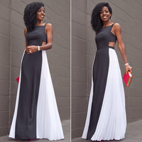 Black and White Backless Chiffon Maxi Dress