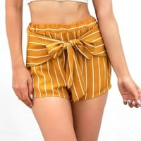 Golden Bow Tie Front Shorts