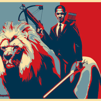 "Obama Riding a Lion Poster 24x36"" EPIC SIZE"
