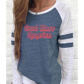 God Bless America Women's Baseball Jersey Christian Semi-Fitted Long Sleeve Shirt