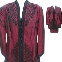 Vintage Beaded and Soustache Embroidered Two-Piece Skirt Suit by Marie St. Claire in Maroon - Fits Size XLarge (Sz 18 US)