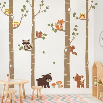 SimpleShapes Birch Trees with Cute Forest Animals Wall Decal | Wayfair