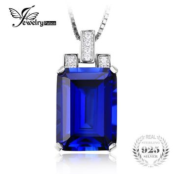 JewelryPalace Luxury Emerald Cut 9.4ct Created Blue Sapphire Pendant Solid 925 Sterling Silver Jewelry For Women Without a Chain