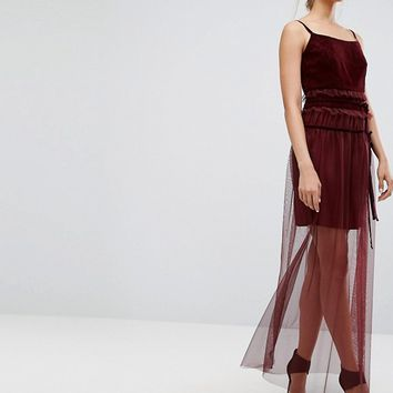 Tresophie Lace And Sheer Maxi Dress at asos.com