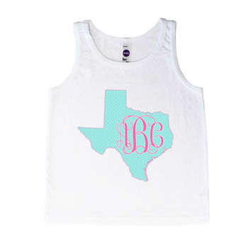 Texas Polka Dot Monogram - Tank