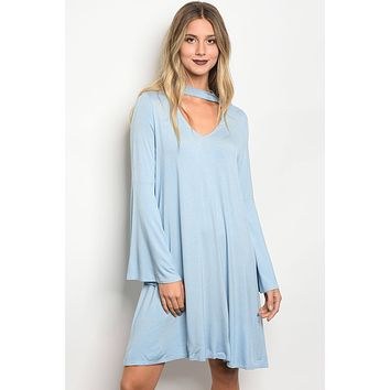 Ladies fashion long sleeve jersey skater dress with a v neckline and choker detail, featuring bell sleeves