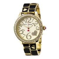 Betsey Johnson BJ00198-05 Women's Crystal Accented Bezel Gold Plated Watch