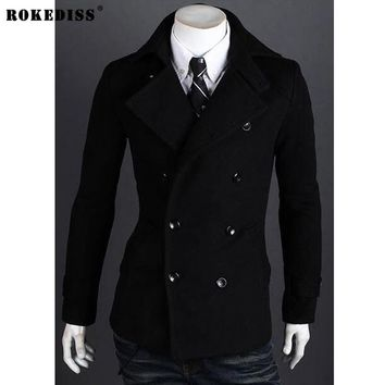 ROKEDISS New Fashion Brand-Clothing Jacket Men Wool Coat Double-breasted Pea Coats Men Long Wool & Blends Winter Windbreaker Men