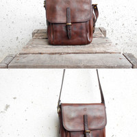 Vintage TIMBERLAND Leather Crossbody Purse Bag // Made in Turkey