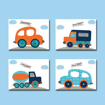 Car Nursery Lorry Nursery Baby Boy Nursery Decor Children Art Print Baby Nursery Print Boy Art set of 4 8x10 Auto Truck Blue Gray Orange