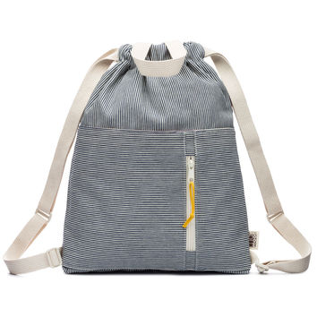Railroad Stripe Denim Drawstring Backpack
