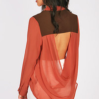 Back Tease Blouse - Chiffon Blouses at Pinkice.com