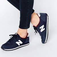 New Balance 410 Navy/White Trainers With Check Trim