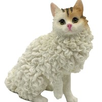 Selkirk Rex Cat Miniature Mini Lifelike Figurine Statue 3H