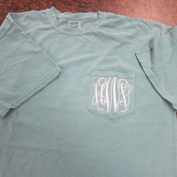Comfort Color Monogrammed Pocket T-Shirts- Short Sleeve  Great for Bridesmaids, Teens, Graduation, Best Friends, Greek, and Birthday Gifts
