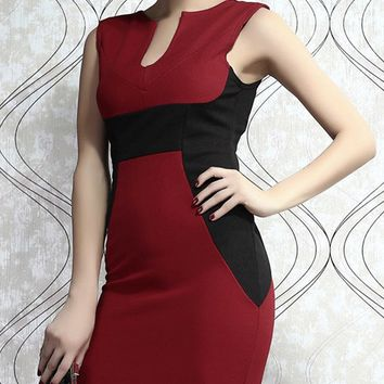 GZDL Elegant Women Sleeveless V Neck Contrast Color Bandage Bodycon Pencil Office Work Business Party Cocktail Sexy Dress CL1867